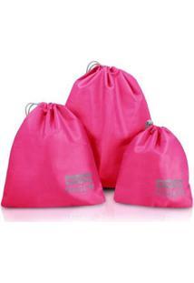 Kit Organizador Jacki Design De Mala Jacki Designs De 3 Peças De Poliéster - Unissex-Pink