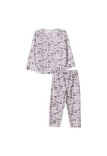 Conjunto Pijama Longo Infantil Monstrinhos Mescla