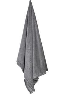 Cobertor Flannel Loft Geomã©Trico De Solteiro- Cinza & Prcamesa