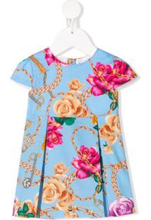 Young Versace Vestido Com Estampa Floral - Azul