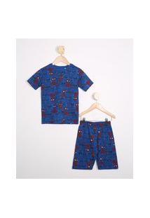 Pijama Infantil Estampado De Homem Aranha Manga Curta Azul