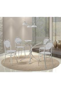 Conjunto Mesa 375 Vidro Incolor Cromada Com 4 Cadeiras 190 Fantasia Branco Carraro
