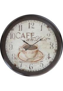 Relógio Kasa Ideia De Parede Café 62Cm