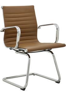 Cadeira Office Sevilha Fixa Baixa Marrom Escuro Rivatti Móveis