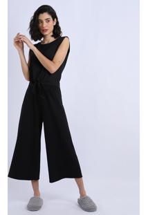 Pijama Feminino Sem Manga E Nozinho Preto