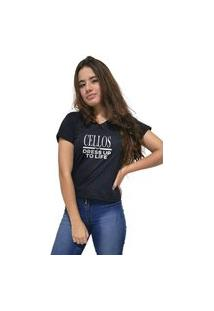 Camiseta Feminina Gola V Cellos Dress Up Premium Preto