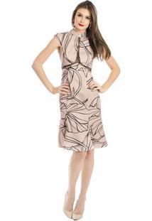Vestido Gola Alta Estampado Alphorria 42