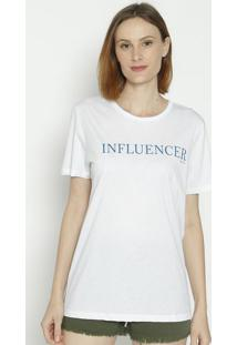 "Camiseta ""Influencer"" - Branca & Azul - Colccicolcci"