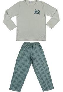 Pijama Longo Juvenil Para Menino - Verde
