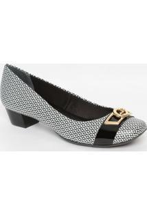 Sapato Em Couro Com Aviamento - Branco & Preto- Saltjorge Bischoff