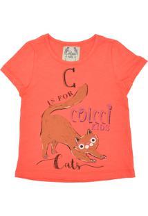 Camiseta Colcci Kids Manga Curta Menina Laranja