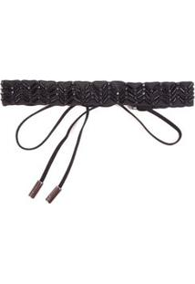 Tiara Chocker Bordada Preto - Tu