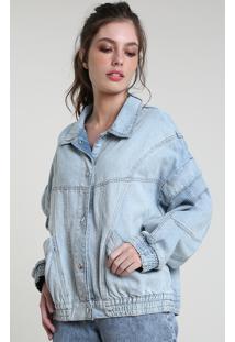 Jaqueta Jeans Feminina Mindset Oversized Com Bolsos E Manga Removível Azul Claro
