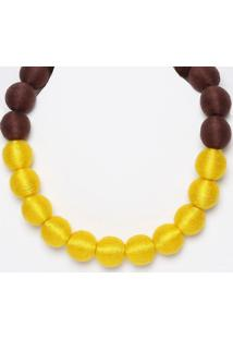 Colar Bicolor De Bolas- Amarelo & Marrom Escuro- 3X4Eva