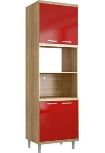Módulo Para Forno E Micro-Ondas 4 Pts Sicília Argila E Vermelho-Scarlet Multimóveis