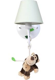 Arandela 1 Lâmpada Floresta Macaco Quarto Safári Infantil Potinho De Mel Verde