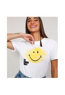 Camiseta Feminina Smiley Manga Curta Off White