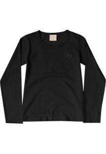 Blusa Infantil Em Cotton Quimby Feminina - Feminino-Preto