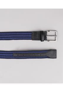 Cinto Masculino Listrado Em Cadarço Azul Marinho