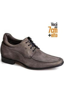 Sapato Social Couro Nobuck Rafarillo Masculino Leve Conforto - Masculino-Cinza
