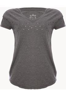 Camiseta Aleatory Gola V Detail Feminina - Feminino-Chumbo