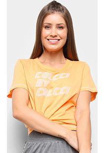 Camiseta Colcci Nó Frontal Estampada Feminina - Feminino-Laranja