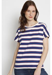 Camiseta Listrada- Azul & Branca- Lacostelacoste