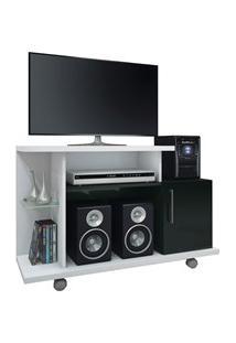 Rack Bancada Para Tv Até 26 Pol. Smart Branco/Preto - Hb Móveis