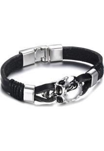 Bracelete Artestore Em Couro Pulseira Aço Caveira Masculina - Masculino-Preto