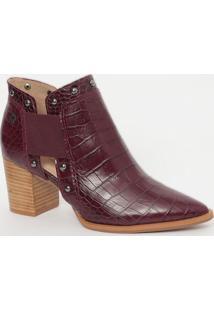 Ankle Boot Em Couro Com Textura Animal- Roxa- Salto:Capodarte