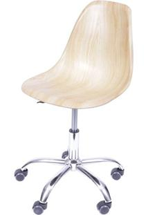 Cadeira Eames Com Rodizio Polipropileno Amadeirado Clara - 40599 - Sun House