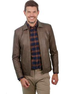 Jaqueta De Couro Javali Slim 129 July Brown