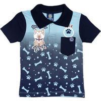 Lojas Pompéia. Polo Manga Curta Infantil Para Menino - Azul cde65e5f97fdc