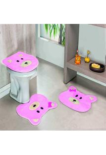 Jogo Banheiro Dourados Enxovais Formato Ursa Rosa