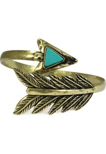 Bracelete Piuka Semi Aberto Folha Seta - Feminino-Dourado