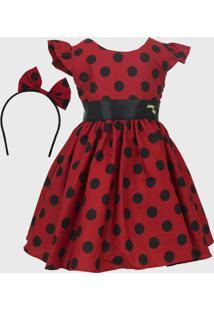 Vestido Katitus Infantil Minnie Bola Preta