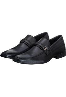 Sapato Social Masculino Elástico Conforto Elegante Liso - Masculino-Preto