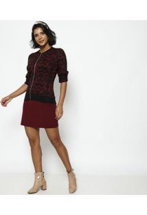 Jaqueta Em Tricot Abstrata- Vermelha & Preta- Ponto Ponto Aguiar