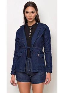 Casaco Jeans Express Moletom Feminino - Feminino-Azul