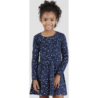66ad0de65 CEA. Vestido Infantil Estampado De Estrelas Manga Longa Azul Marinho