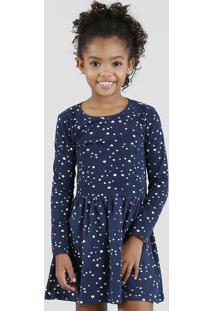 Vestido Infantil Estampado De Estrelas Manga Longa Azul Marinho
