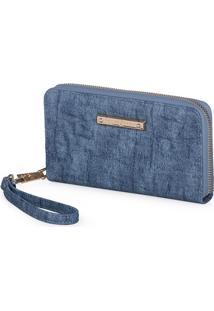 Carteira Fellipe Krein Com Textura Azul Jeans
