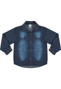 Camisa Look Jeans Manga Longa Azul - Azul - Menino - Algodã£O - Dafiti