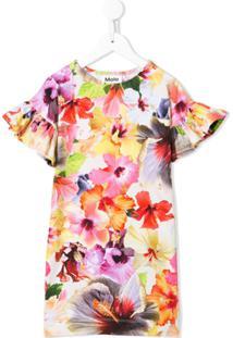 Molo Vestido Mini Com Estampa Floral - Vermelho