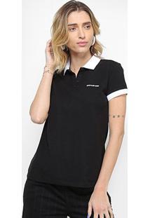 Camiseta Calvin Klein Polo Contraste Feminina - Feminino-Preto