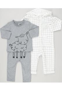 e78eaf795f Conjunto Infantil De Macacão Estampado Off White + Camiseta Ovelha Manga  Longa + Calça Em Algodão