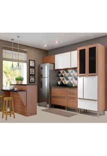 Cozinha Compacta Calábria Com Tampo 12 Portas Nogueira/Branco - Multimóveis
