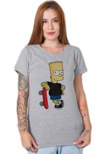 Camiseta Bart Old School Cinza Stoned - Cinza - Feminino - Algodã£O - Dafiti
