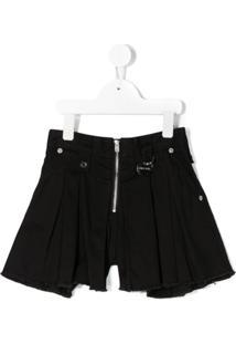 Diesel Kids Short Jeans Flare Com Zíper - Preto