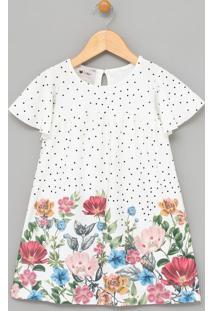 Vestido Infantil Texturizada Estampa Poá E Floral - Tam 1 A 4 Anos